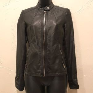 Express Womens XS Black Faux Leather Zip Up Jacket